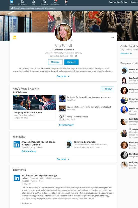 Muestra de la nueva actualización del perfil de LinkdIn./ Foto: cortesía
